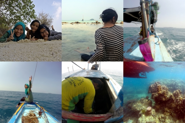 [From upper left clockwise]: 1. Rolling around on the sand; 2. Bang Ali's boat on the horizon; 3. Heading to the first spot;